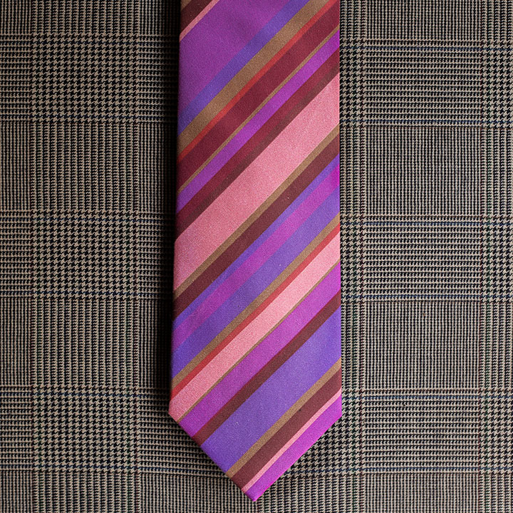Stripe Necktie (Pink & Purple)