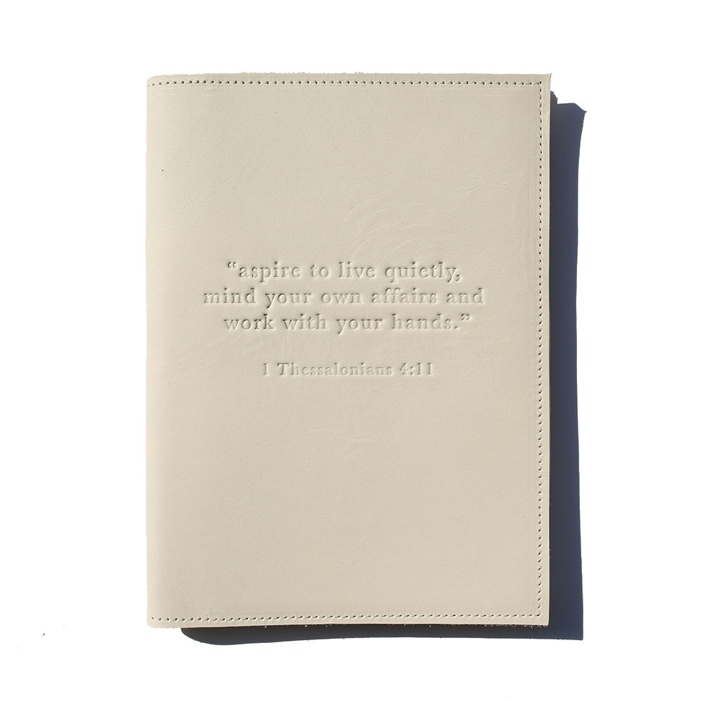 """Aspire To Live Quietly"" Leather Journal – Beige"