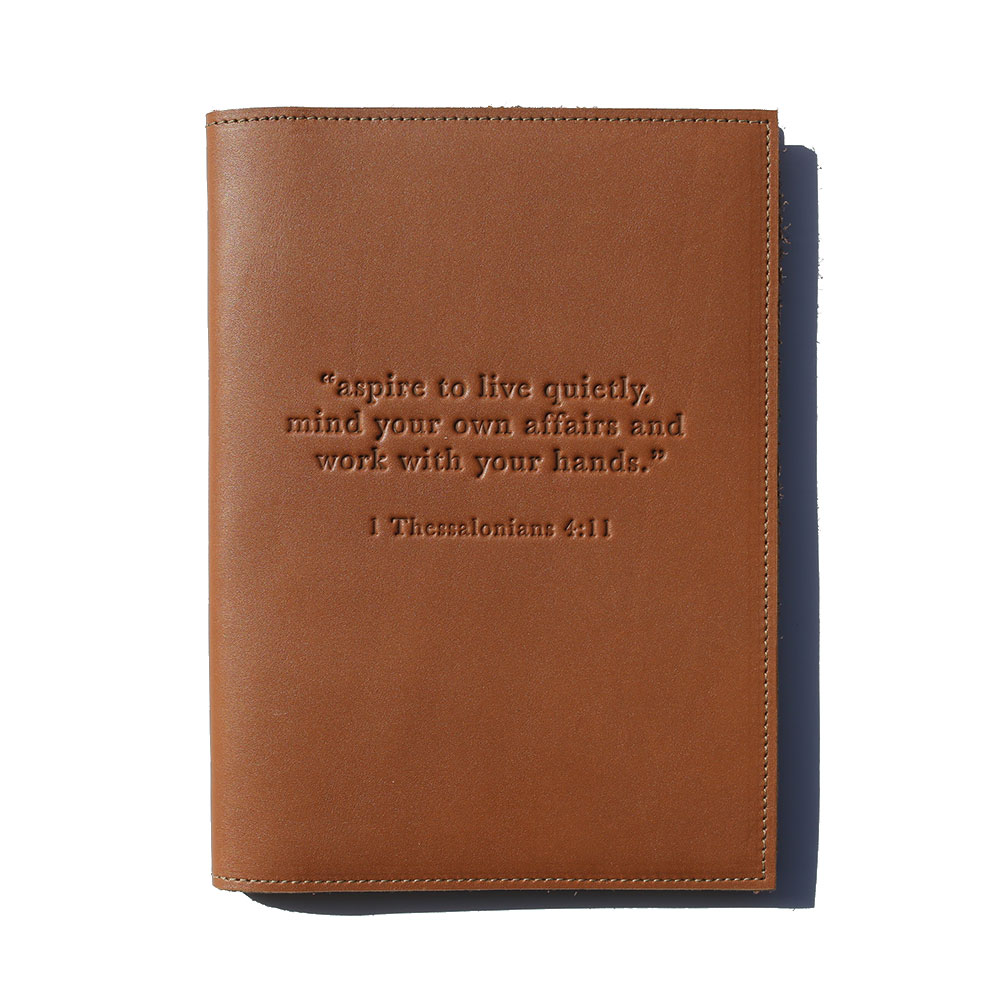 """Aspire To Live Quietly"" Leather Journal – Cognac"