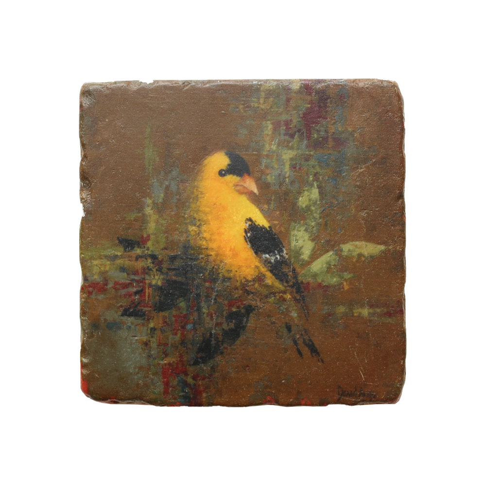 """Goldfinch"" Marble Coaster"