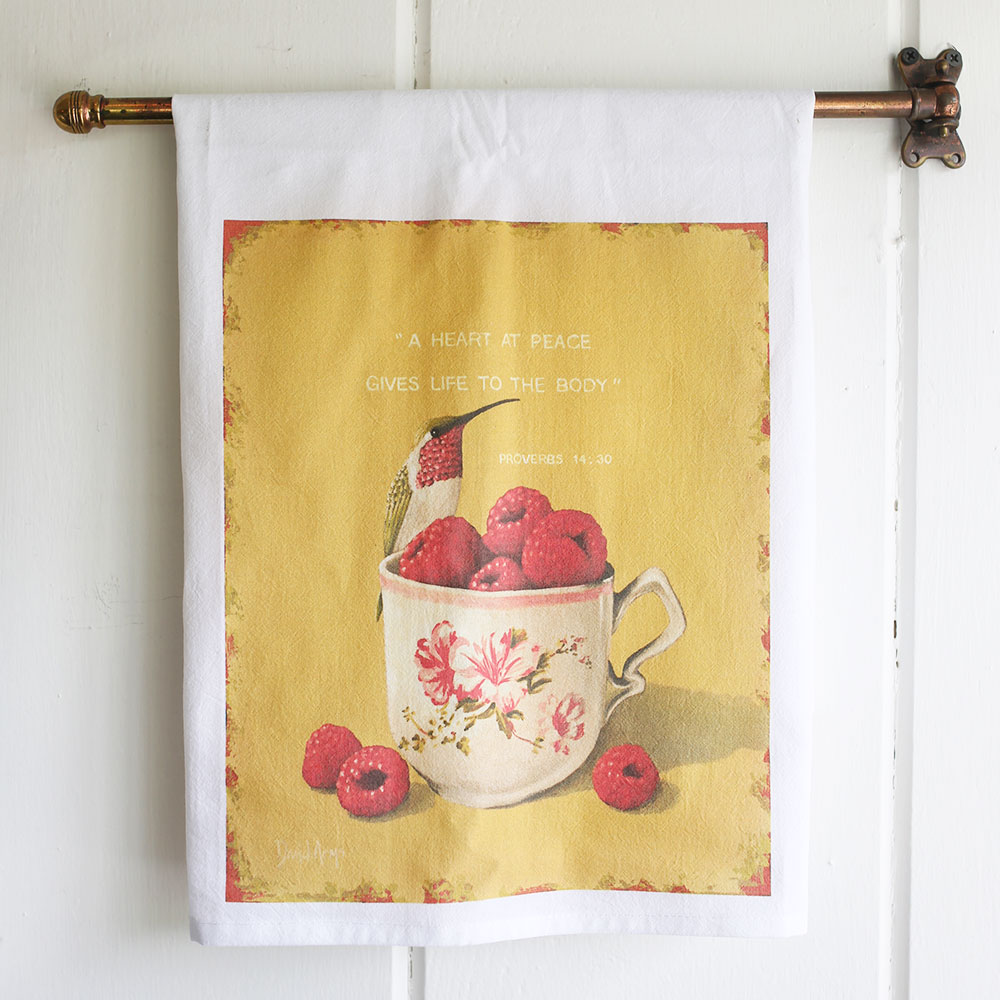 """Heart At Peace"" Flour Sack Tea Towel"