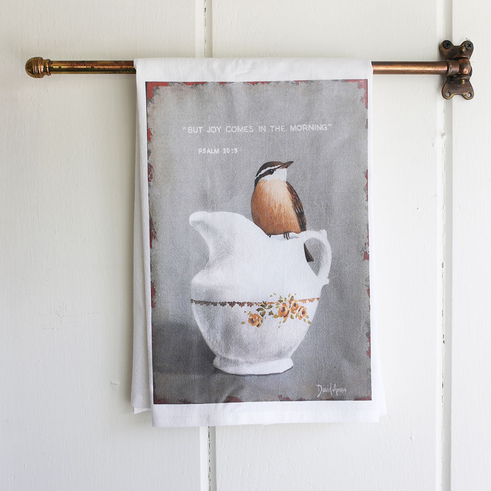"""Joy Comes In The Morning"" Flour Sack Tea Towel"