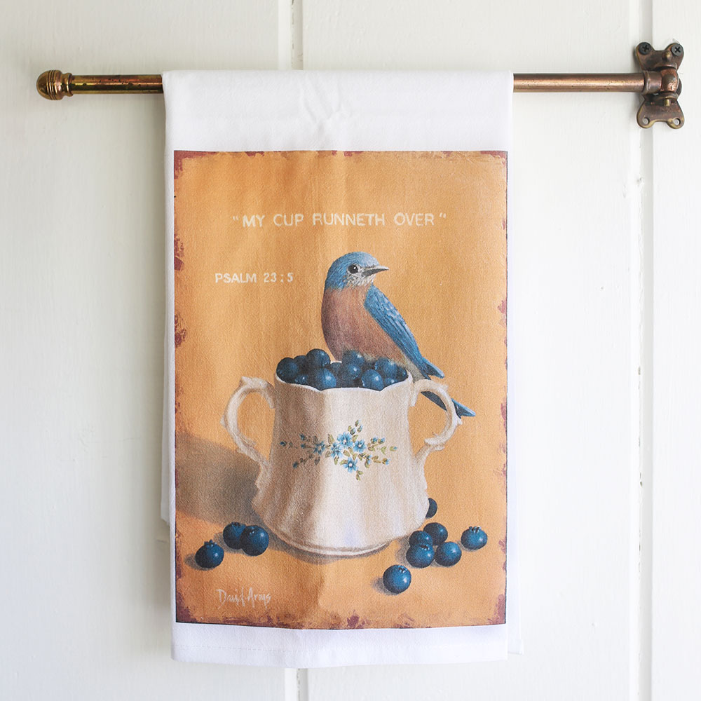 """My Cup Runneth Over"" Flour Sack Tea Towel"
