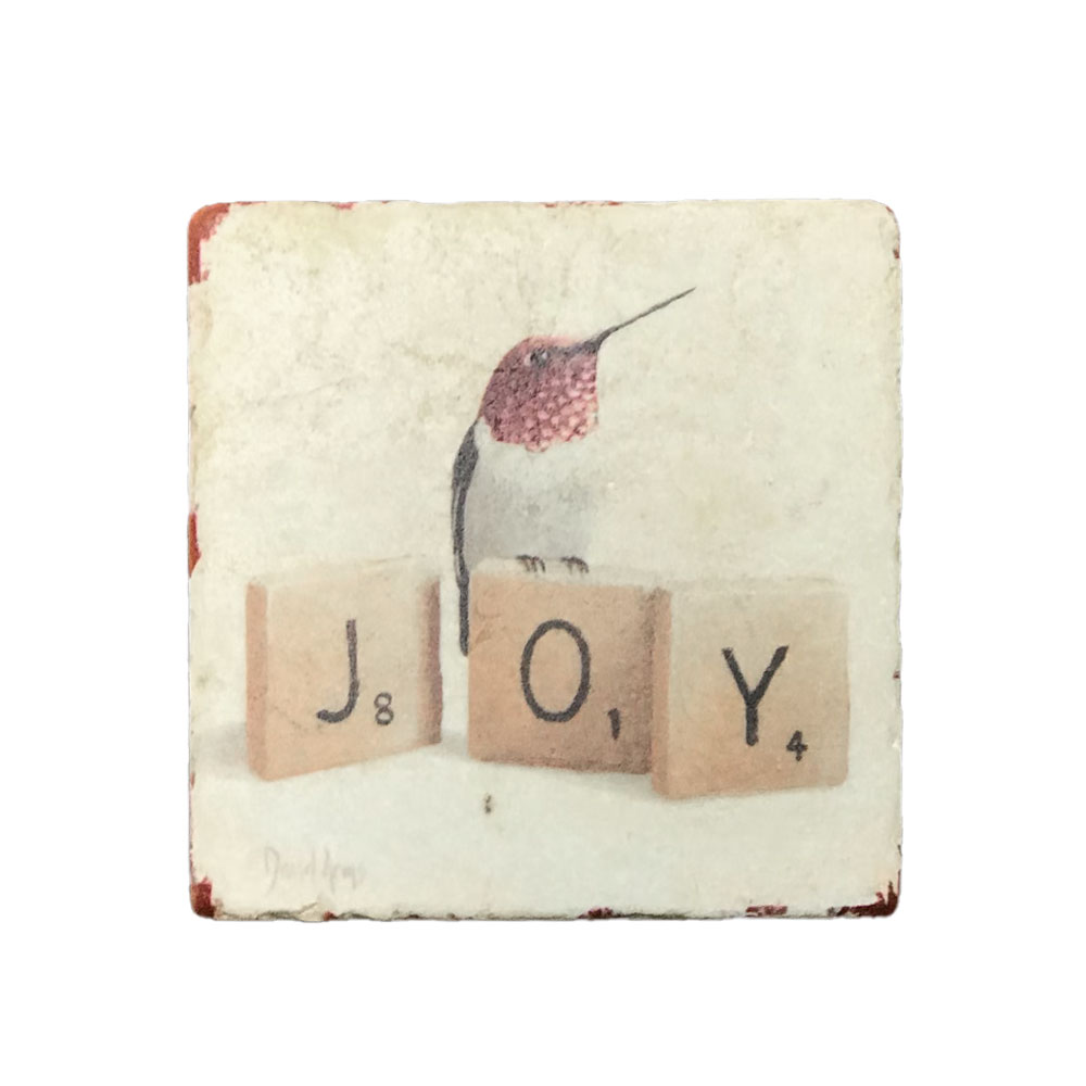 """Joy"" (scrabble) Marble Coaster"