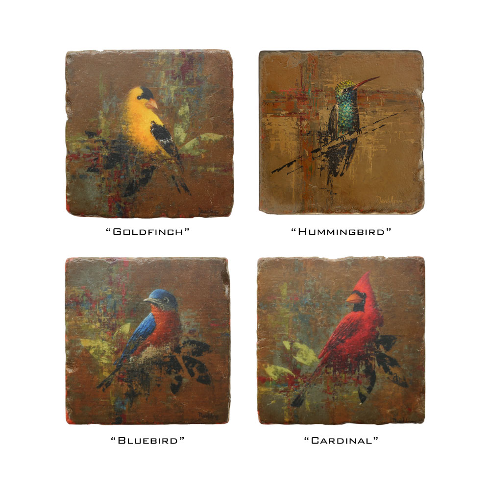 "Set Of 4 ""Birds"" Marble Coasters"