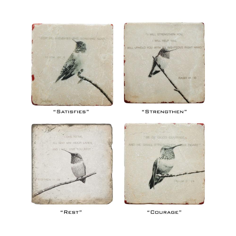 """Set Of 4 """"Hummingbirds"""" Marble Coasters"""