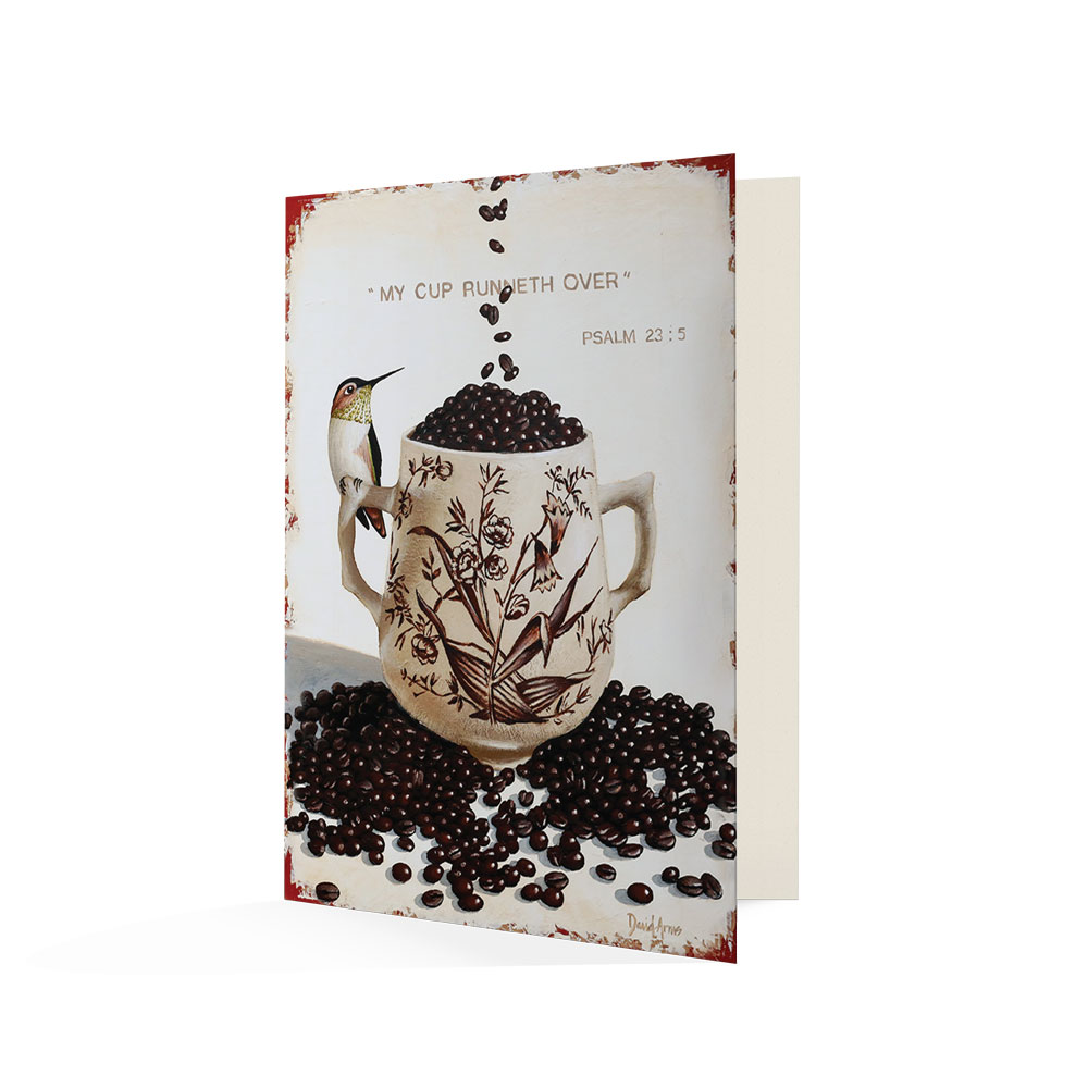 """My Cup Runneth Over (Coffee Beans)"" Notecards"